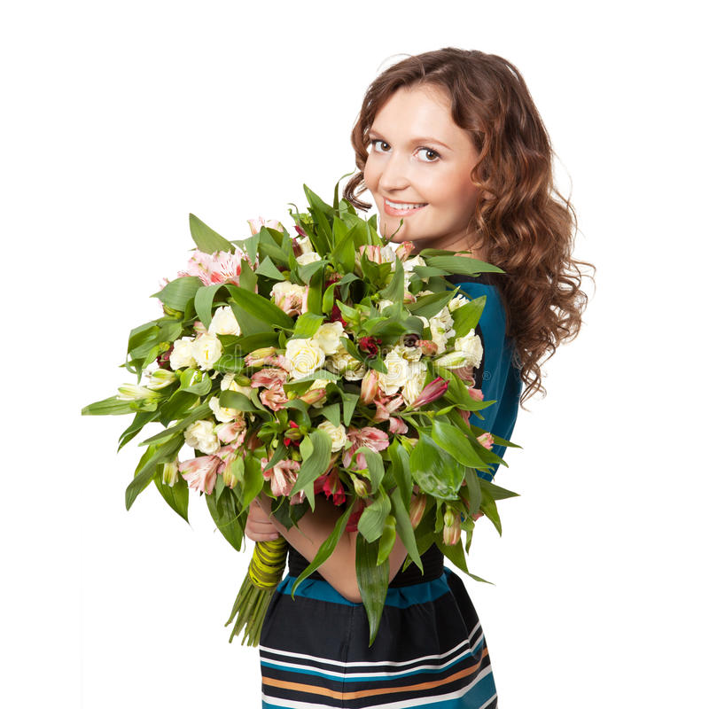 Retrato do ramalhete guardarando triguenho bonito das flores fotografia de stock