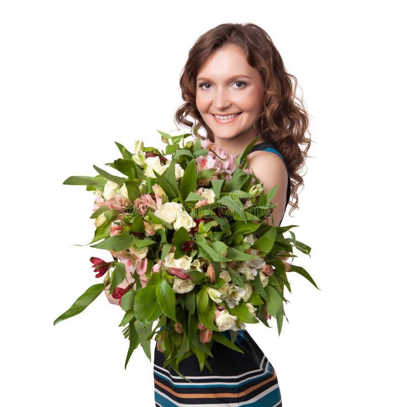 Retrato do ramalhete guardarando triguenho bonito das flores imagens de stock royalty free