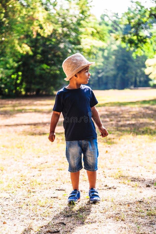 Retrato do rapaz pequeno que anda fora no parque no verão imagens de stock royalty free