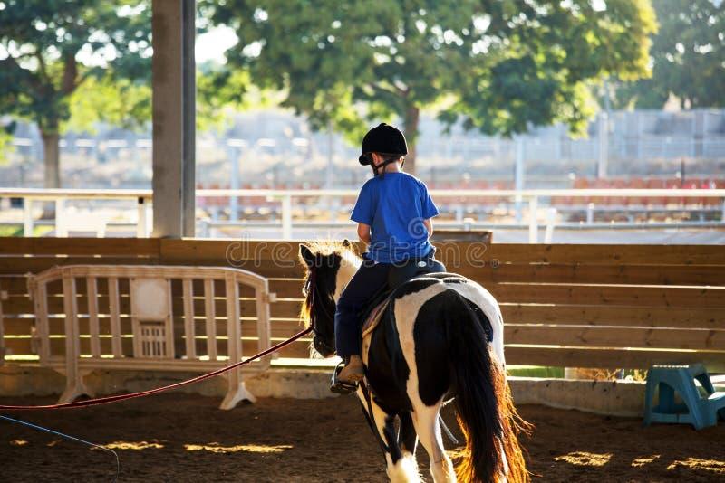 Retrato do rapaz pequeno que monta um cavalo Primeiras lições da equitação foto de stock