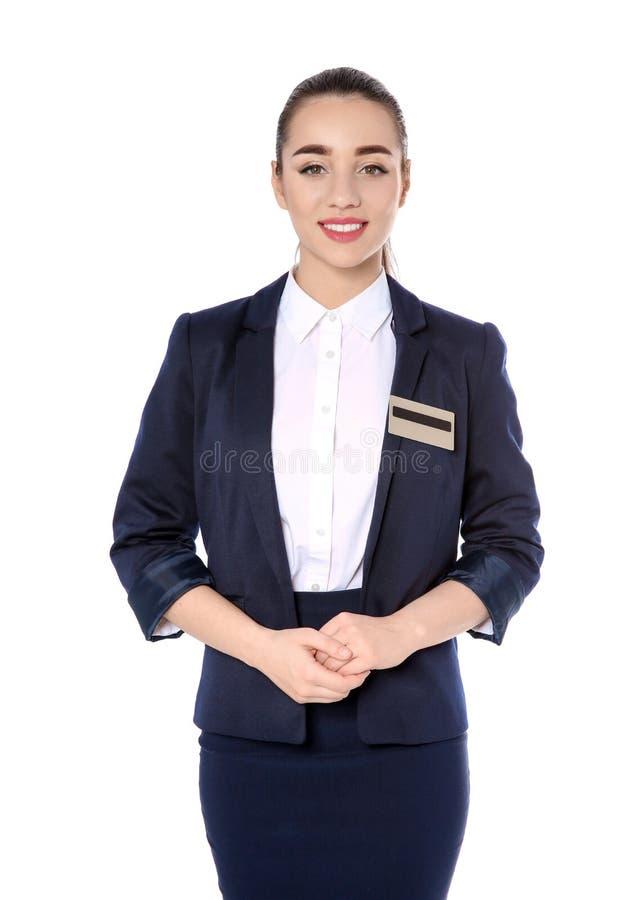 Retrato do recepcionista fêmea no fundo branco imagem de stock royalty free