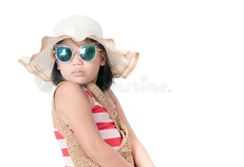 Retrato do roupa de banho vestindo da menina bonito com chapéu fotos de stock