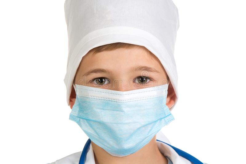 Retrato do ` s do doutor no fim da máscara acima Imagem extremamente exata da qualidade no fundo branco fotografia de stock royalty free