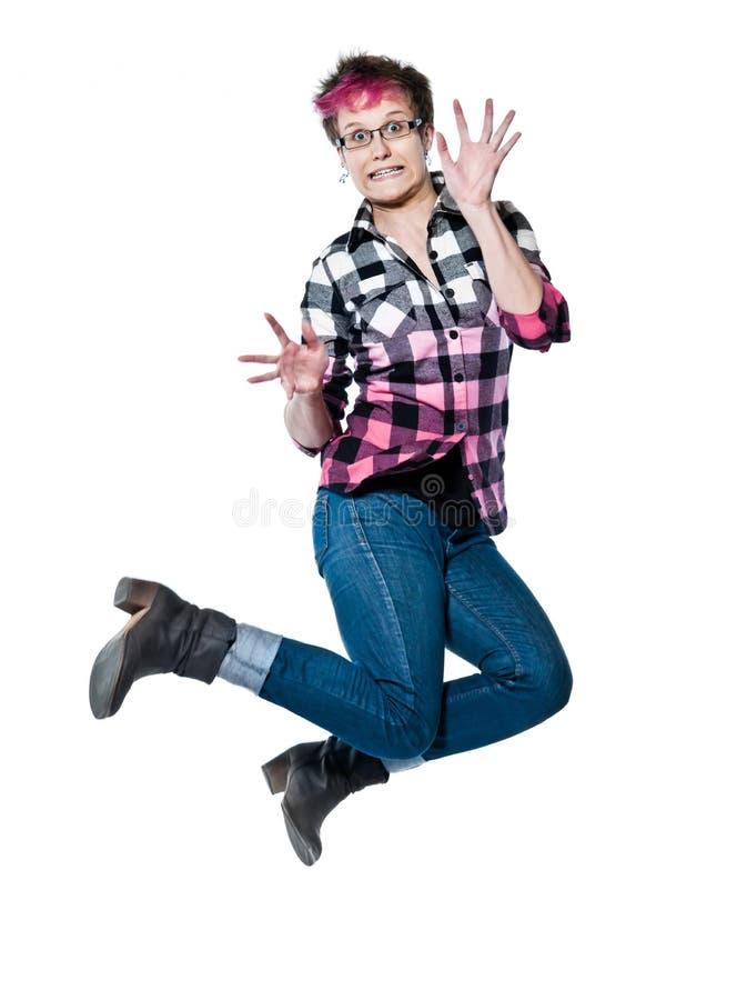 Retrato do salto nervoso da mulher fotos de stock royalty free