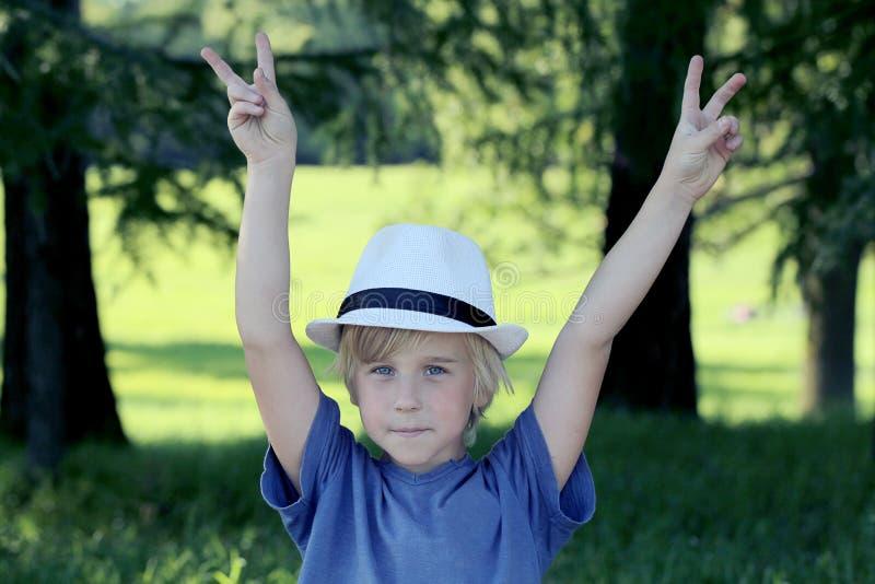 Retrato do sinal da mão da vitória da exibição do menino no fundo da natureza fotos de stock