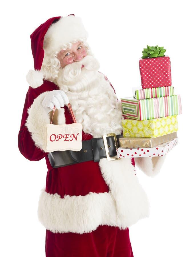Retrato do sinal de Santa Claus With Gifts And Open imagens de stock royalty free