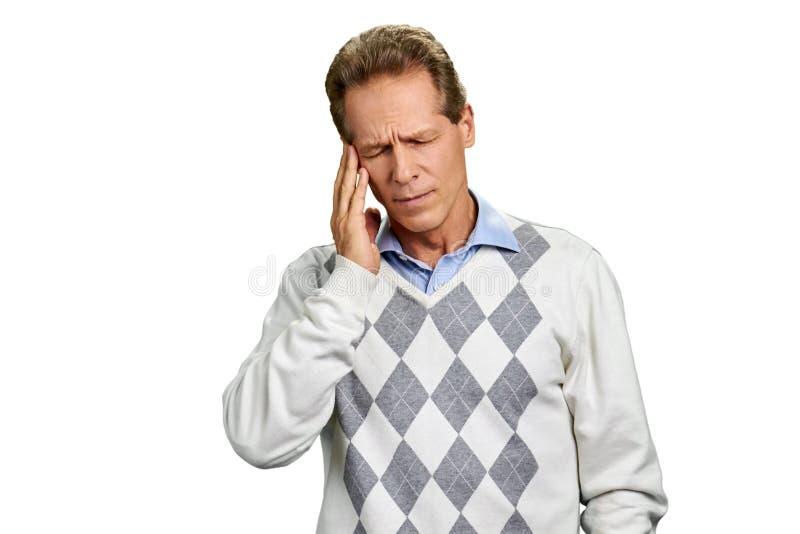 Retrato do sofrimento do homem da enxaqueca imagem de stock royalty free