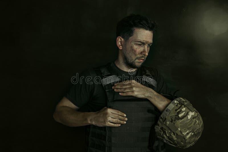 Retrato do soldado masculino novo fotografia de stock royalty free