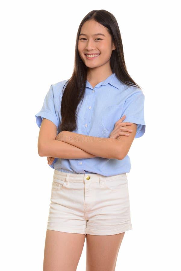 Retrato do sorriso asiático feliz novo da mulher foto de stock