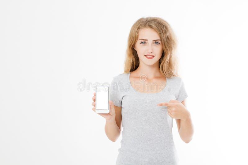 Retrato do sorriso atrativo, mulher bonita, moreno, menina na camisa, apontando Mulher de negócios adolescente Gerente novo confi imagens de stock