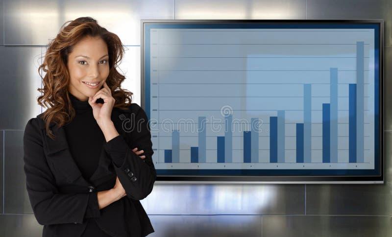 Retrato do sorriso bem sucedido da mulher de negócios foto de stock royalty free