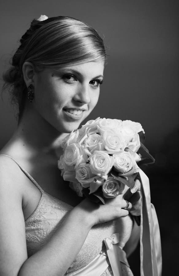 Retrato do sorriso da noiva fotos de stock royalty free