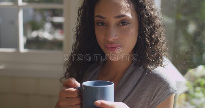 Retrato do sorriso latino-americano novo bonito da mulher foto de stock royalty free