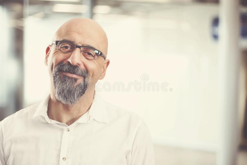 Retrato do sorriso maduro do homem imagens de stock