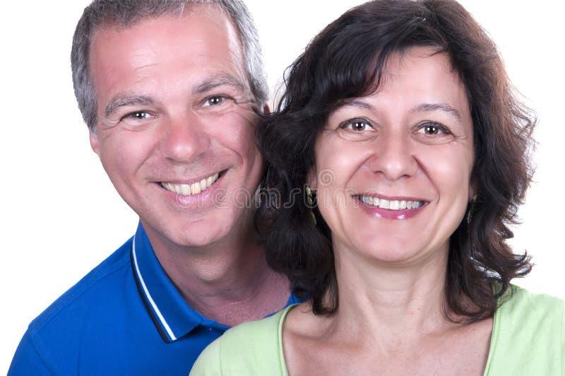 Retrato do sorriso superior feliz dos pares imagem de stock