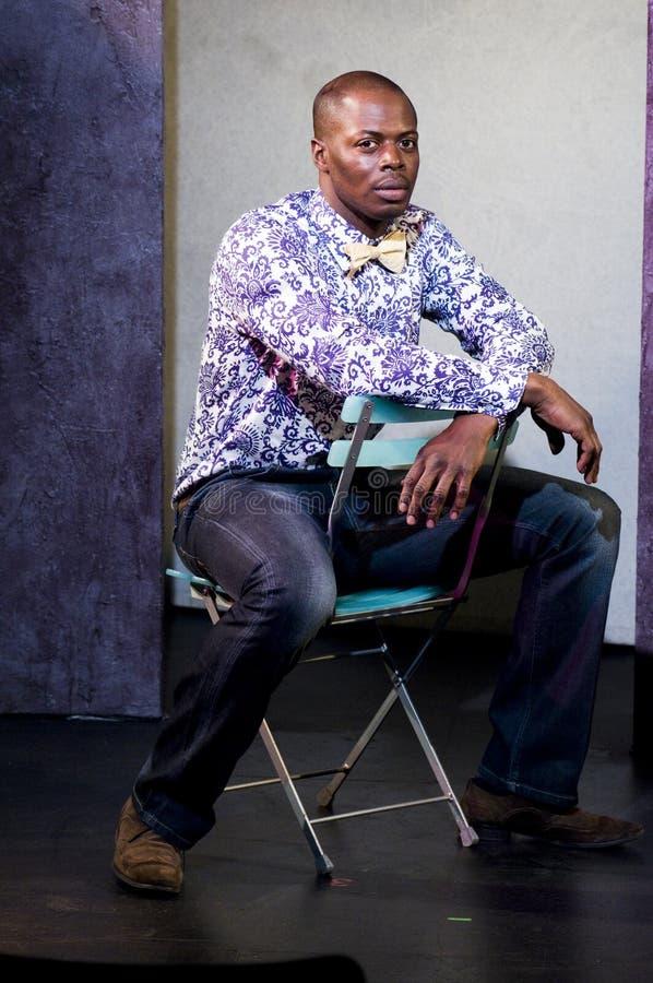 retrato do teatro do estágio do ator do americano africano foto de stock