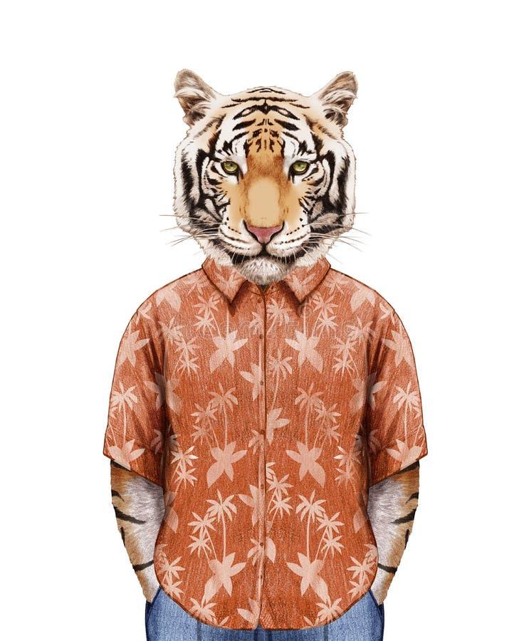 Retrato do tigre na camisa do verão ilustração do vetor