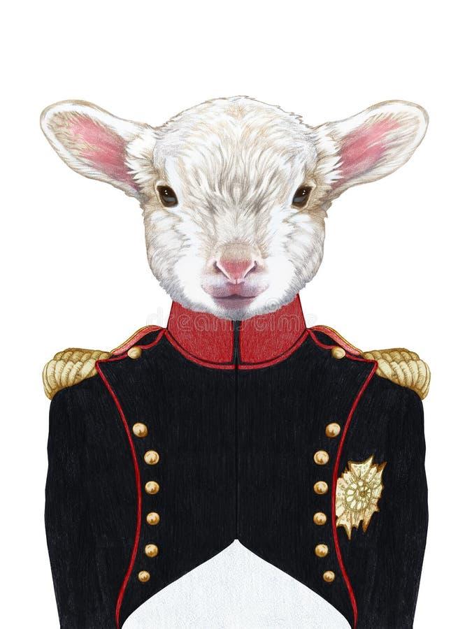 Retrato do uniforme militar do cordeiro n ilustração stock