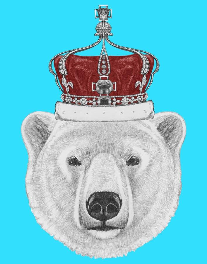 Retrato do urso polar com coroa ilustração royalty free