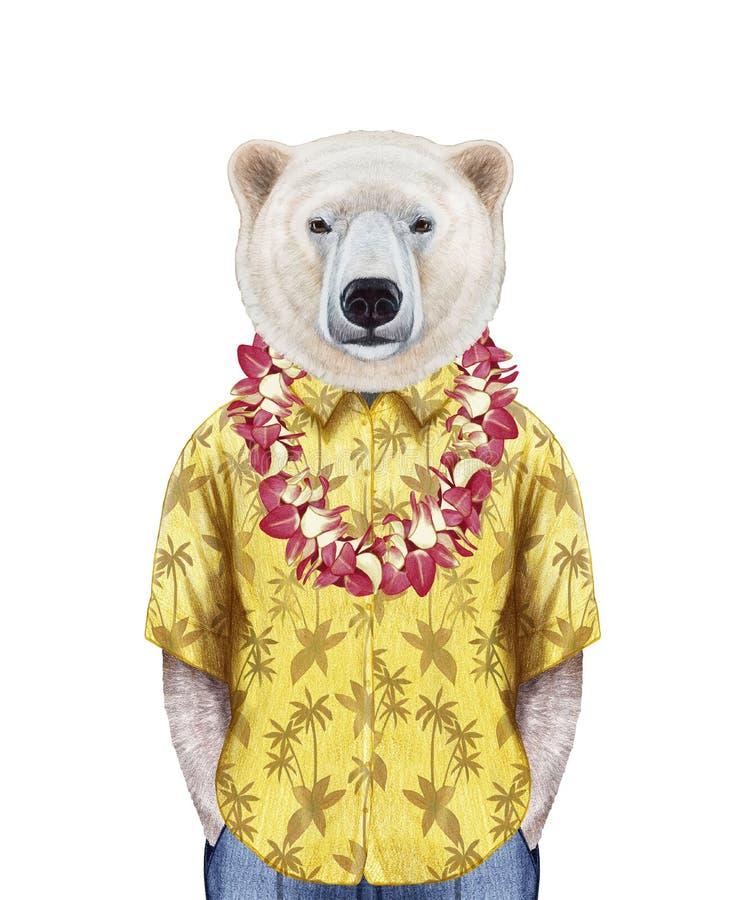 Retrato do urso polar na camisa do verão com leus havaianos ilustração stock