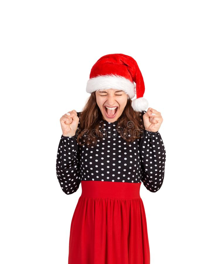 Retrato do vestido de sorriso descuidado e feliz do womanin menina emocional no chapéu do Natal de Papai Noel isolado no fundo br fotografia de stock royalty free