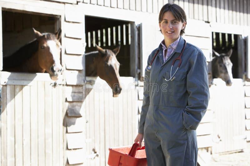 Retrato do veterinário que está por Cavalo Estábulo fotografia de stock