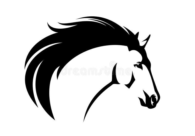 Retrato do vetor da cabeça de cavalo do mustang do perfil ilustração royalty free