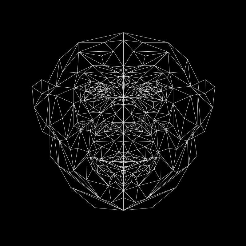Retrato do vetor da linha fina estilo do macaco ilustração do vetor