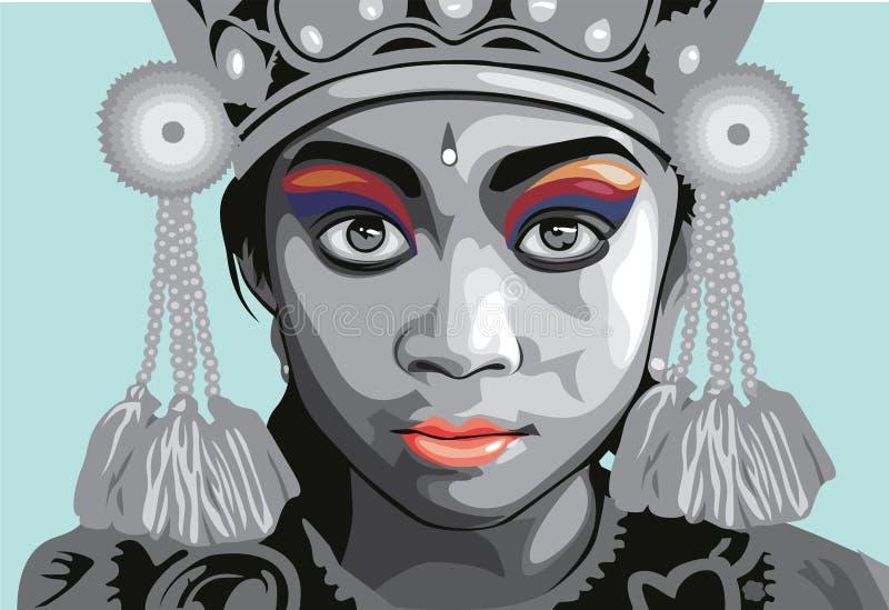 Retrato do vetor da menina do dançarino de Bali ilustração stock