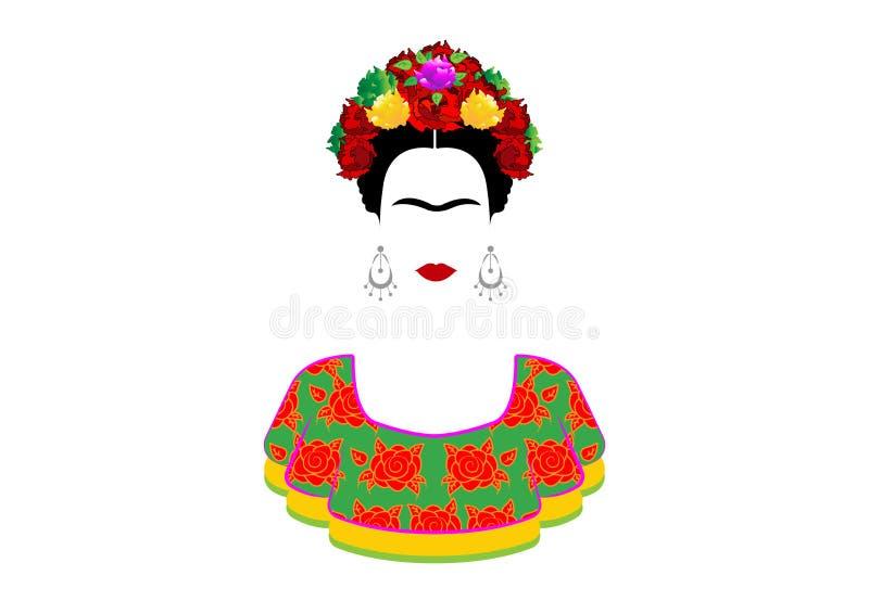 Retrato do vetor de Frida Kahlo, mulher mexicana bonita nova com um penteado tradicional O mexicano crafts brincos e flores verme ilustração stock