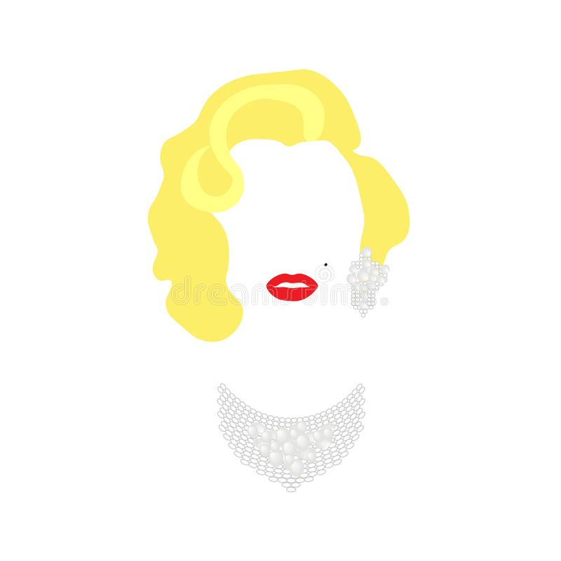 Retrato do vetor de Marilyn Monroe, mulher loura do ícone da diva com joias ilustração royalty free