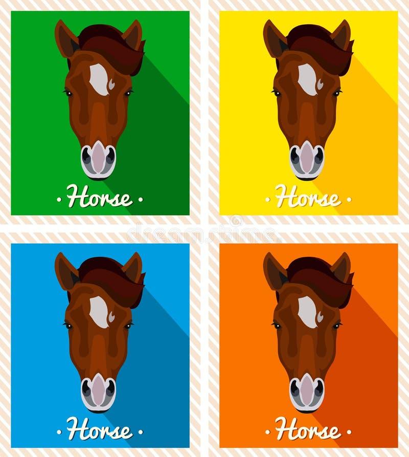 Retrato do vetor do cavalos Retratos simétricos dos animais Imagem de uma cara dos cavalos Um cavalo marrom com uma juba ilustração stock