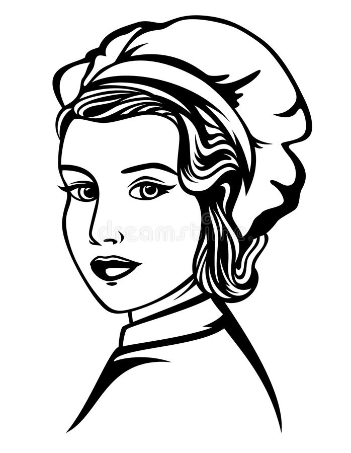 Retrato do vetor do cozinheiro chefe da mulher ilustração royalty free