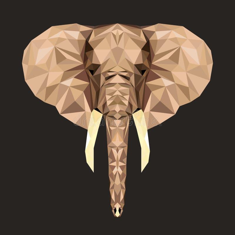 Retrato do vetor do elefante poligonal Ilustração do triângulo do animal para o uso como uma cópia no t-shirt e no cartaz Baixo p ilustração royalty free