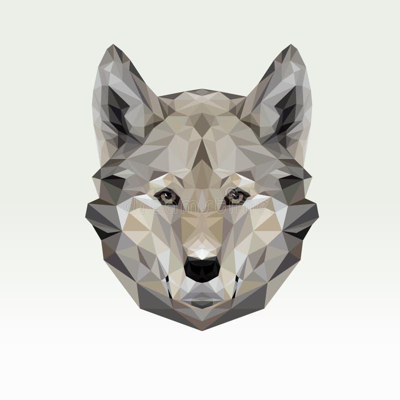 Retrato do vetor do lobo poligonal Ilustração do cão do triângulo para o uso como uma cópia no t-shirt e no cartaz Ponto baixo ge ilustração stock