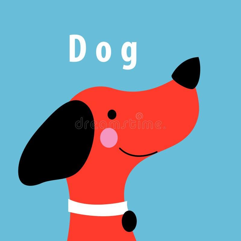 Retrato do vetor dos gráficos de um cão vermelho ilustração stock
