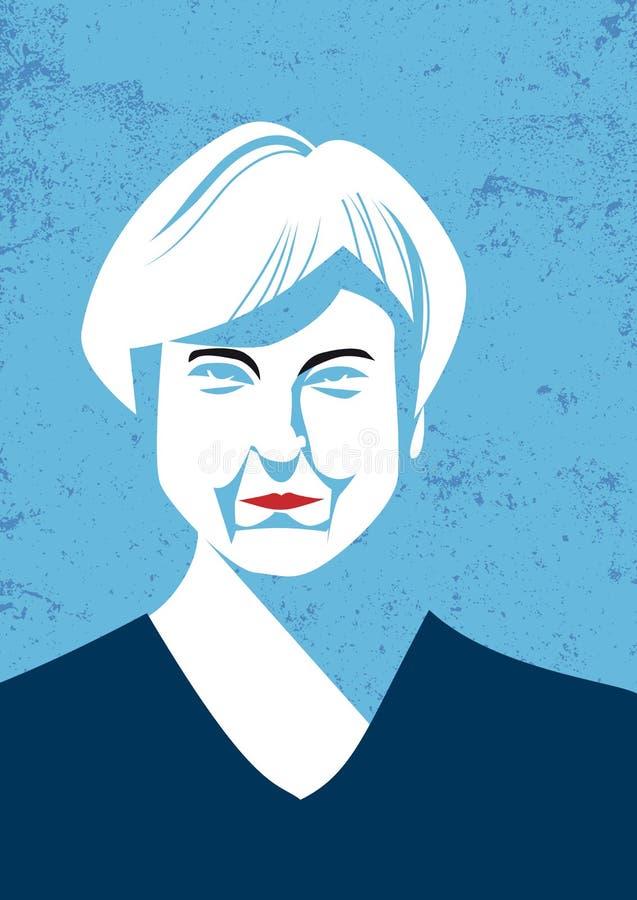 Retrato do vetor do primeiro ministro britânico Teresa May ilustração royalty free