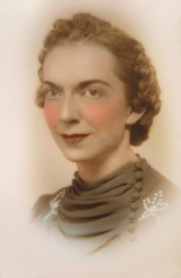 Retrato do vintage da mulher imagens de stock