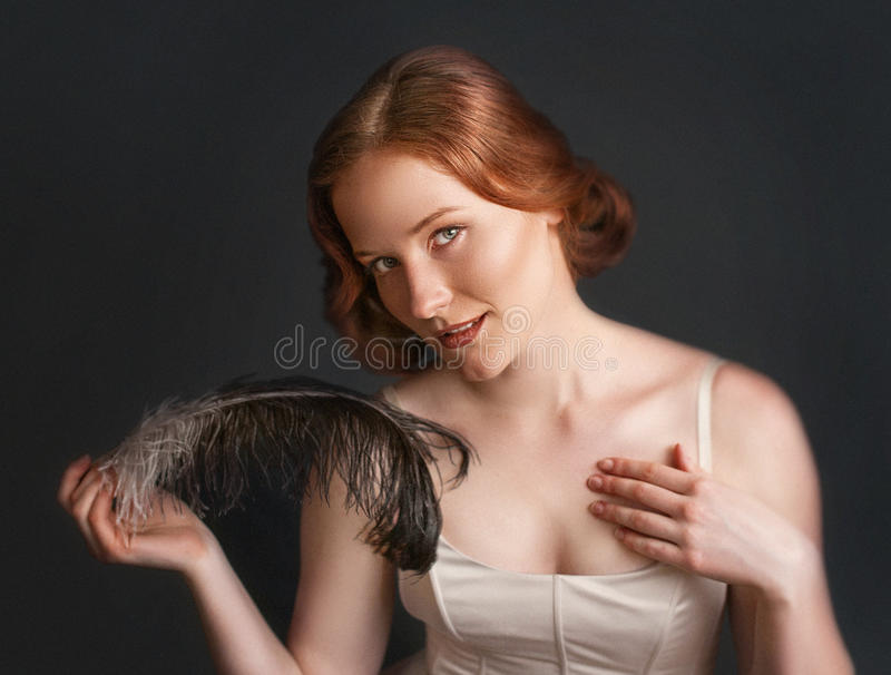 Retrato do vintage da mulher bonita fotografia de stock
