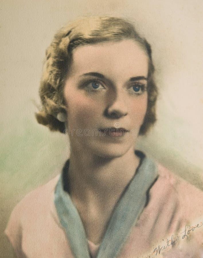 Retrato do vintage da mulher /Color imagem de stock royalty free