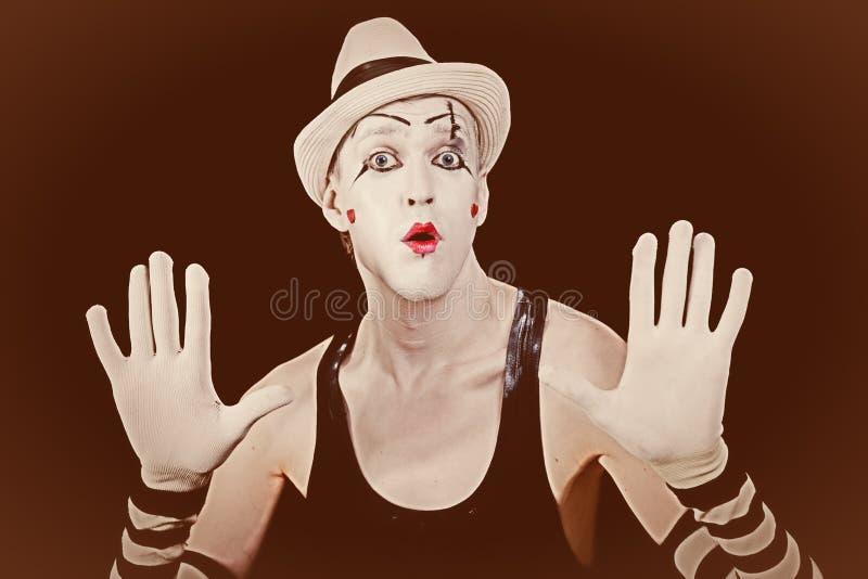 Retrato do vintage de um palhaço de circo foto de stock