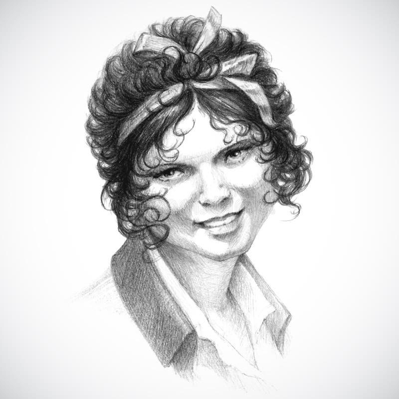 Retrato do vintage do vetor da mulher bonita nova ilustração royalty free