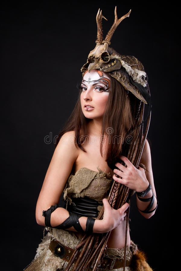 Retrato do viquingue fêmea foto de stock royalty free