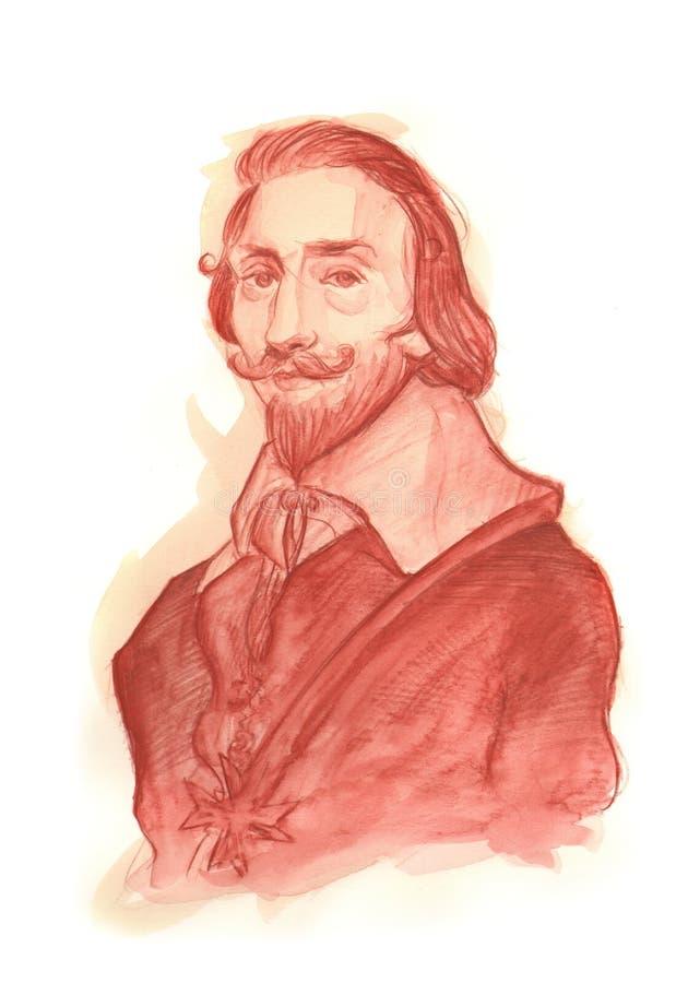 Retrato do Watercolour de Cardeal Richelieu imagem de stock