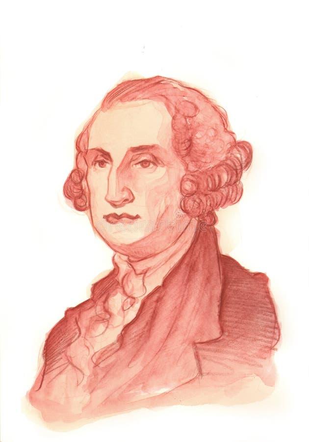 Retrato do Watercolour de George Washington ilustração do vetor