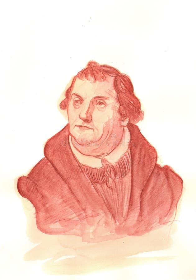 Retrato do Watercolour de Martin Luther