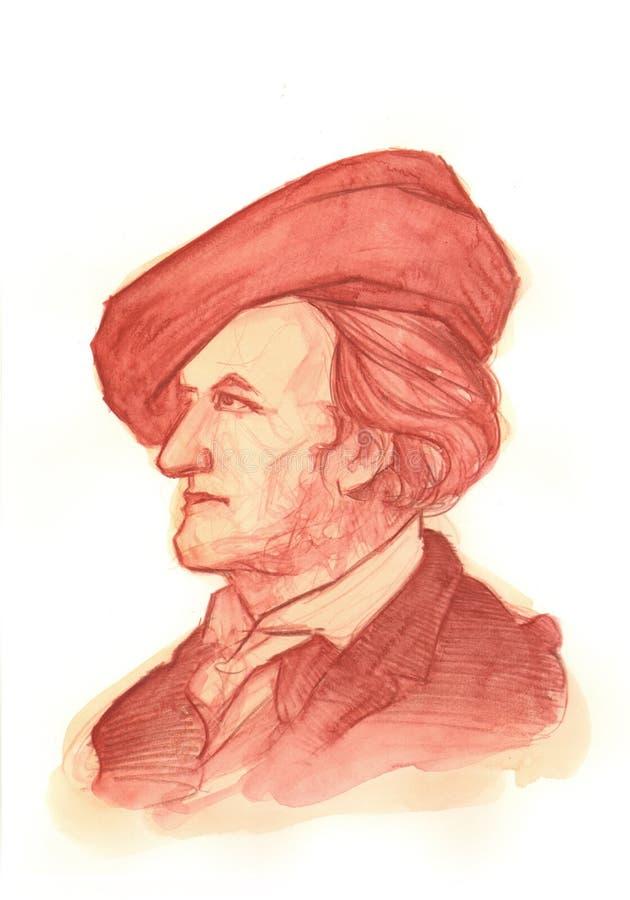 Retrato do Watercolour de Richard Wagner fotos de stock
