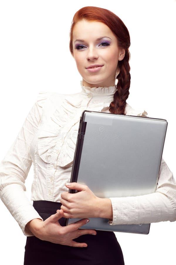 Retrato do woma feliz do negócio foto de stock