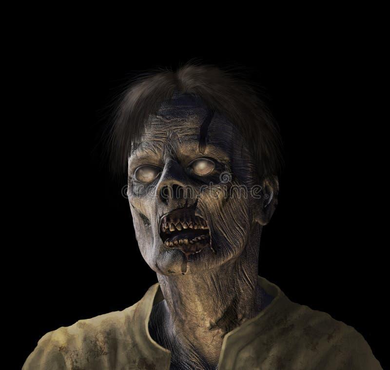 Retrato do zombi no preto ilustração do vetor