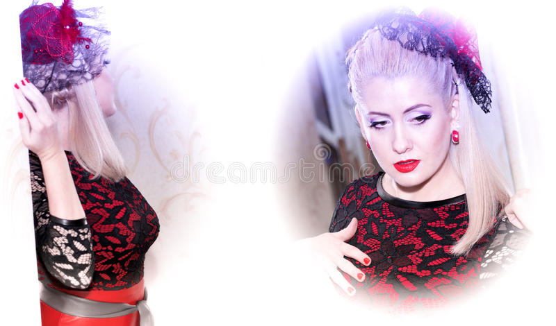 Retrato dobro da mulher bonita em um vestido vermelho imagem de stock royalty free